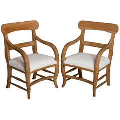 Pair of Michael Taylor Pine Armchairs
