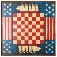 Vintage Paint Decorated Americana Game Board
