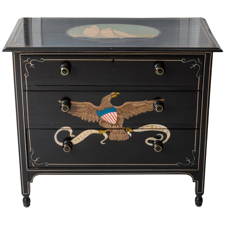 Hand painted nautical eagle chest of drawers for sale at for Hand painted chests