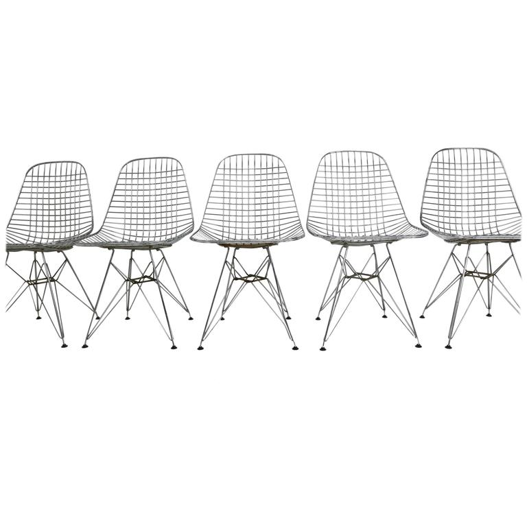 Set Of Five Eames DKR Eiffel Base Wire Chairs For Vitra For Sale