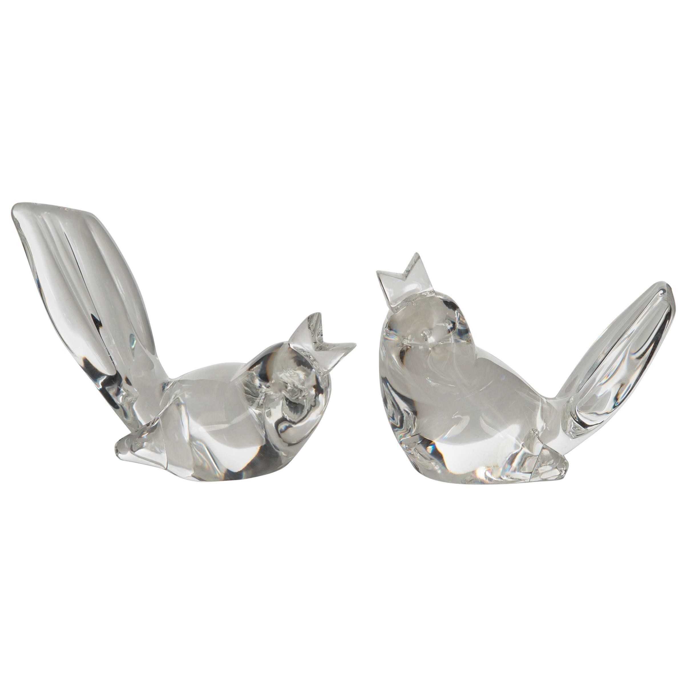 Pair of Mid-Century Steuben Glass Birds