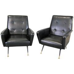 1960 Italian Gio Ponti Inspired Lounge Chairs