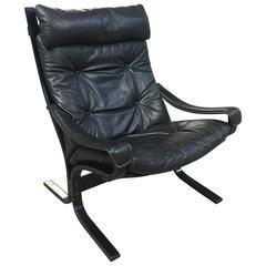 Norwegian Black Leather Siesta Chair by Ingmar Relling for Westnofa from 1960s