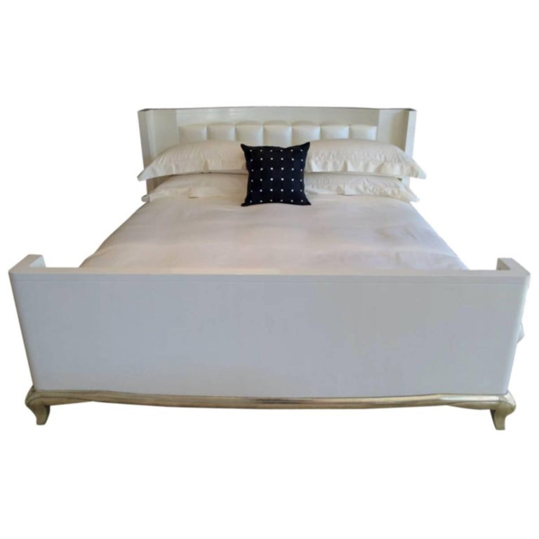 King Sized Hollywood Regency Style Bed with Radius Headboard and White Gold Leaf For Sale