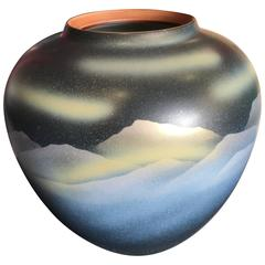 Japanese Sky and Mountains Vase with Signature Mint, Signed and Boxed