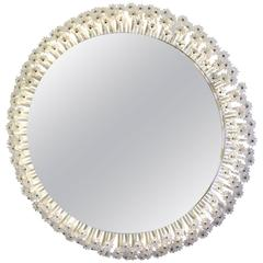 Mid-Century Modern Illuminated Oval Wall Mirror with Star Prism Border, Stejnar