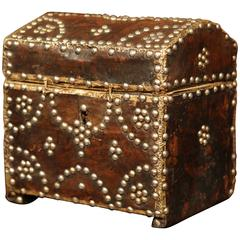 18th Century French Leather Jewelry Box with Decorative Brass Nails