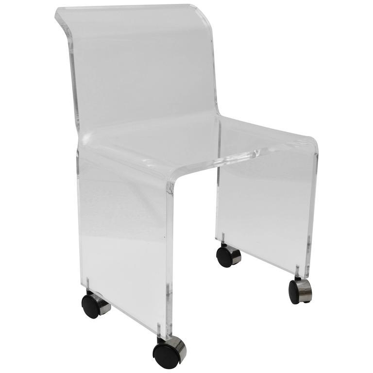 Charles Hollis Jones Style Lucite Vanity Stool-Chair