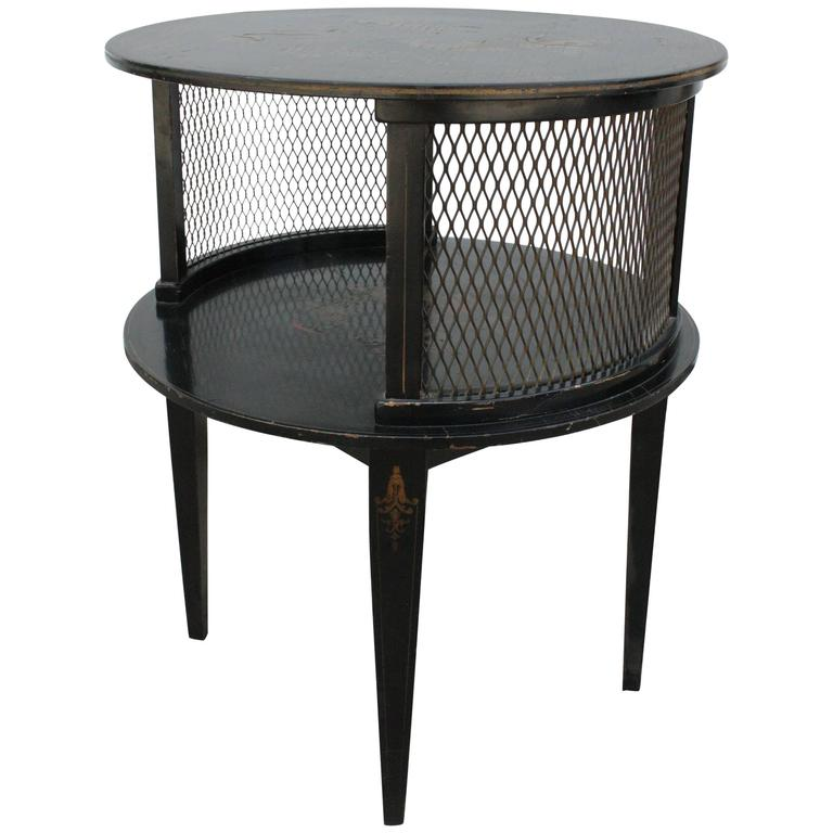 1930s Round Black Hand-Painted Side Table For Sale