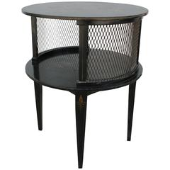 1930s Round Black Hand-Painted Side Table