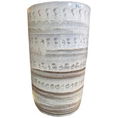 Tall Bitossi Glazed Ceramic Umbrella Stand or Vase