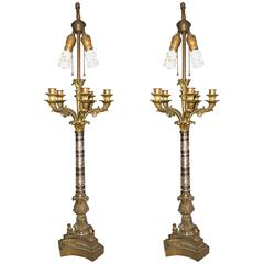 Pair of Empire Style Glass Column Form Candelabra Lamps