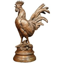 19th Century French Patinated Spelter Rooster Sculpture on Round Base