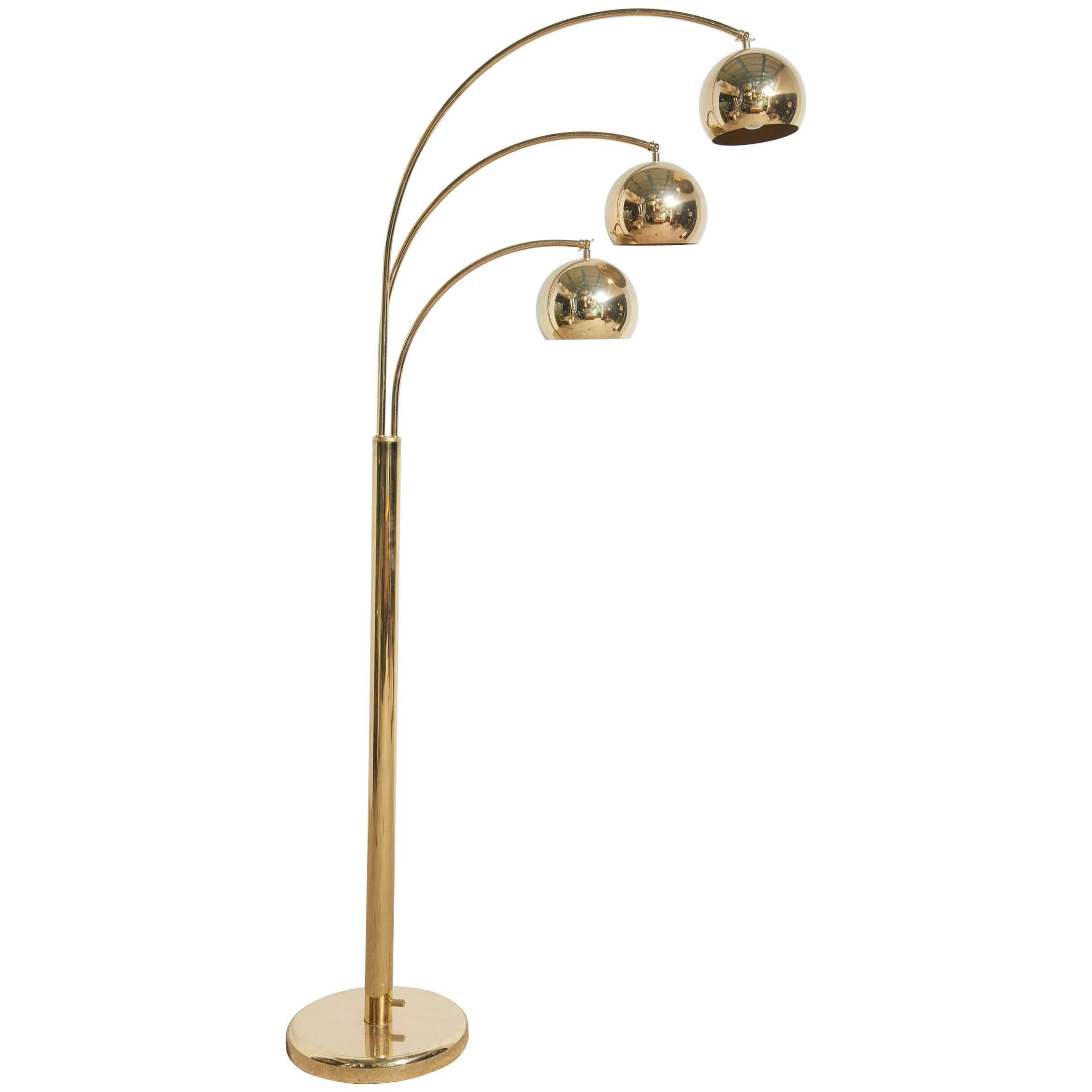 Brass Arc Floor Lamp With Three Adjustable Arms By Goffredo Reggiani, Italy  1
