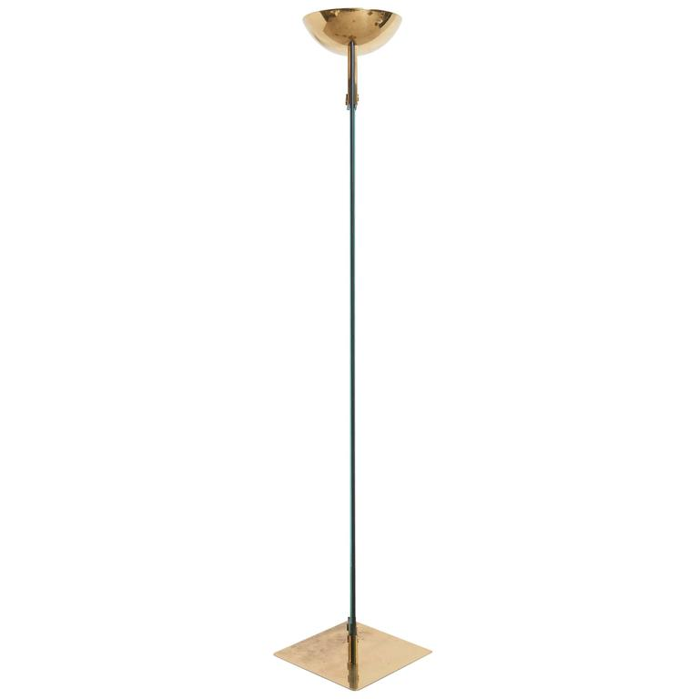 """Italian Brass and Glass """"Laser"""" Floor Lamp by Max Baguara for Lamperti, Italy"""