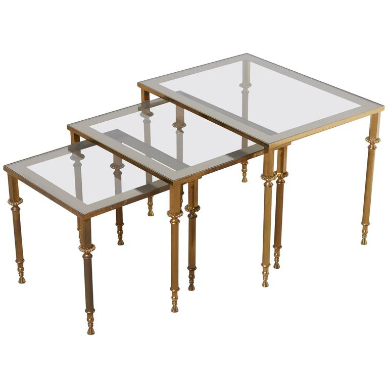 Set of Three French Mid-Century Brass and Glass Nesting Tables For Sale
