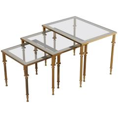 Wonderful Set Of Three French Mid Century Brass And Glass Nesting Tables