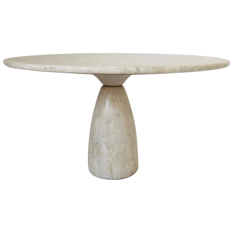Travertine Round Dining Table by German Designer Peter Draenert For Sale