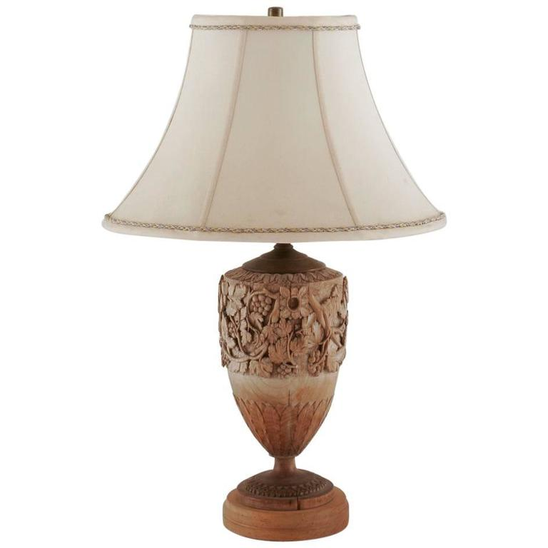 italian wood carved lamp for sale at 1stdibs. Black Bedroom Furniture Sets. Home Design Ideas