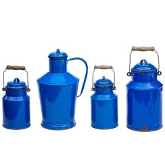 Collection of Four Pieces of Hungarian Enamelware by Bonyhad