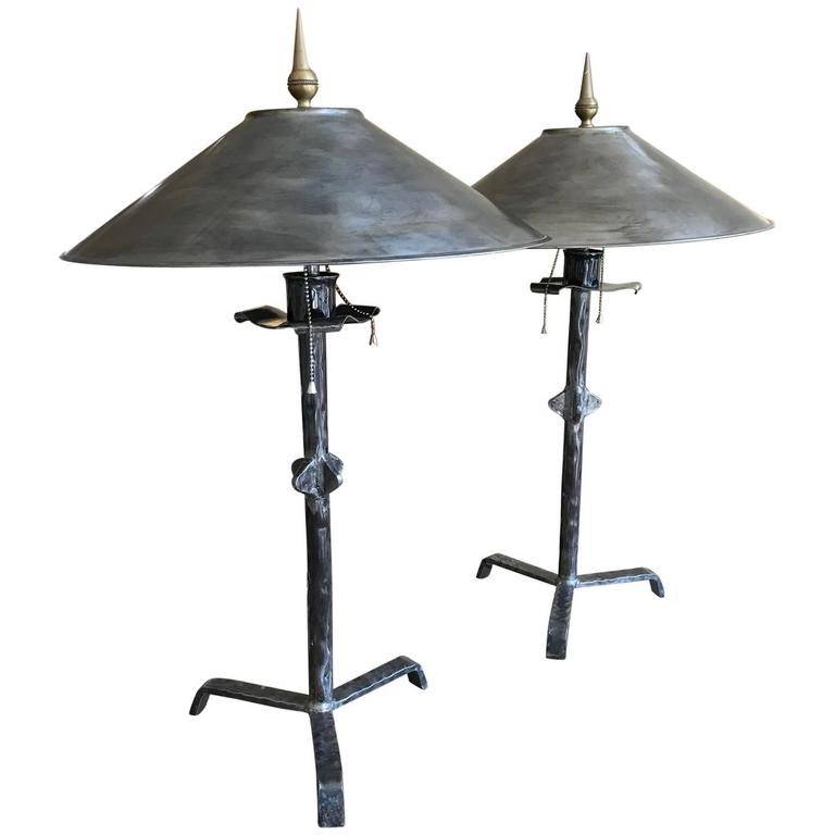 Pair of Hammered Steel Giacometti Style Lamps with Metal Shades
