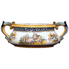 Early 20th Century French Hand-Painted Faience Jardinière Signed Henriot Quimper