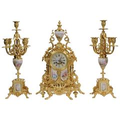 Large Ormolu and Sèvres Porcelain Clock Set, circa 1890
