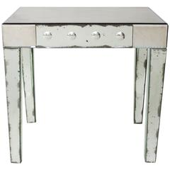 Vintage French Antiqued Mirrored End Table