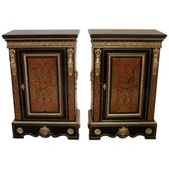 Pair of French Boulle Napoleon III Side Cabinets with Bronze Gilt Mounts