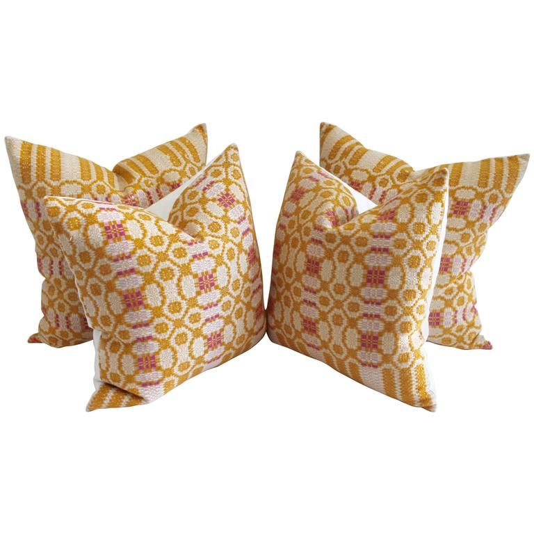 Amazing Early 19th Century Mustard and Salmon Woven Coverlet Pillows, Pair For Sale