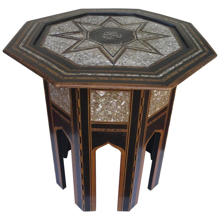 A Syrian Mother Of Pearl Bench Available To Purchase At: 19th Century Ottoman Or Moorish End Table With Mother-of