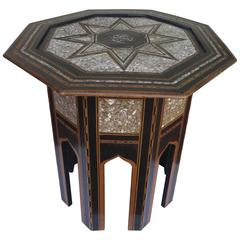 19th Century Ottoman or Moorish End Table with Mother-of-Pearl
