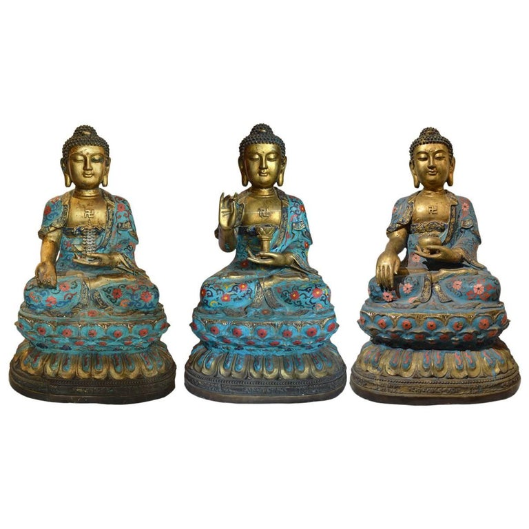 Three Large Chinese Gilt Bronze and Cloisonné Buddha's Seated on Lotus Flower