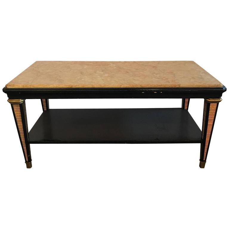 Hollywood Regency Maison Jansen Black And Gilt Marble Top Coffee Table At 1stdibs
