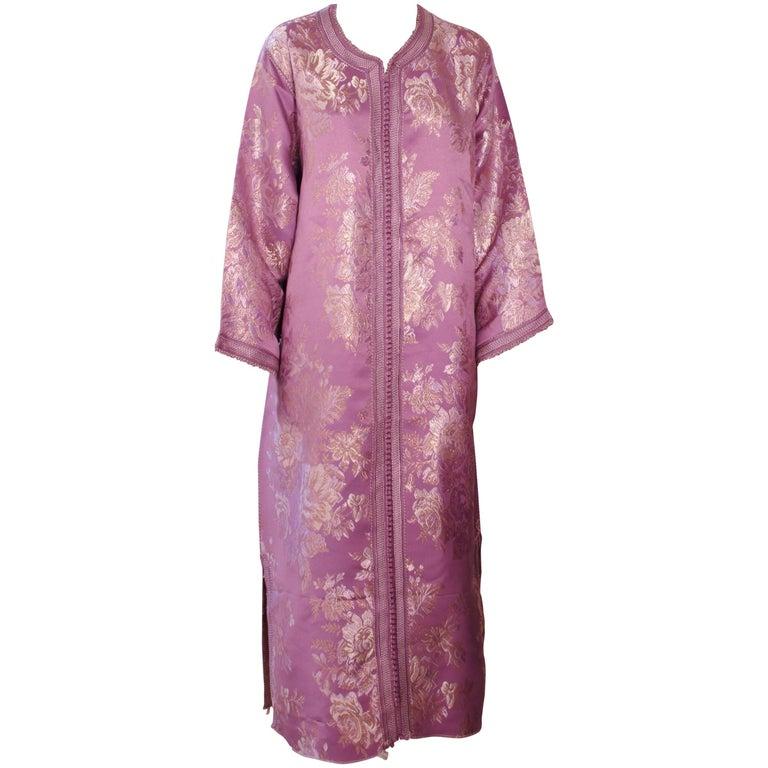 Moroccan Purple Brocade Caftan Gown Maxi Dress Kaftan Size M For Sale
