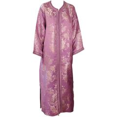 Moroccan Purple Brocade Caftan Gown Maxi Dress Kaftan Size M