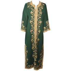 Moroccan Green Embroidered Caftan, Kaftan