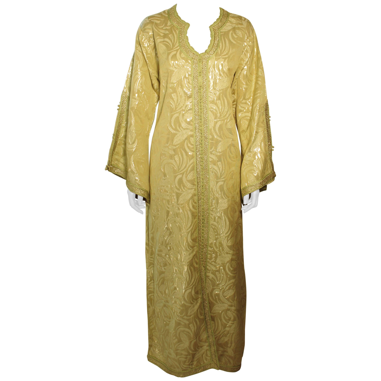Moroccan Moorish Caftan Gown in Gold Brocade Maxi Dress Kaftan Size M to L