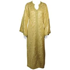 Moroccan  Caftan Gown in Gold Brocade Maxi Dress Kaftan Size M to L