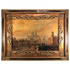 "Oil on Canvas ""City View"" Sunset City Scene with Palace Signed Kitty Young"