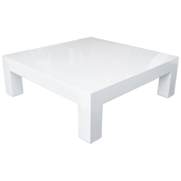 Bon Square Lacquered Parsons Style Coffee Table