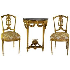 Set of 19th Century French Gilt Console with Matching Salon Chairs