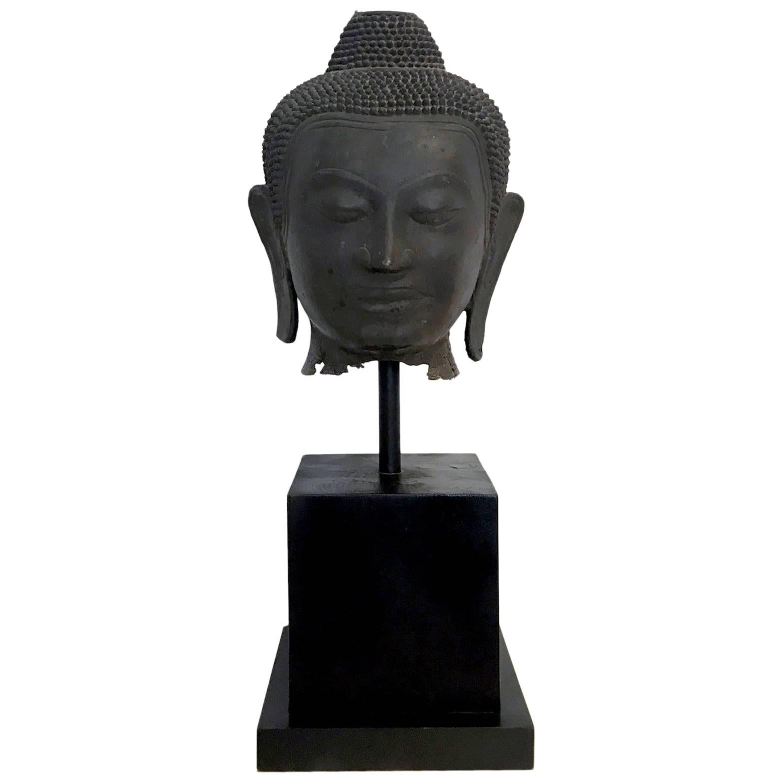 Large Bronze Buddha Head with Stand Thailand
