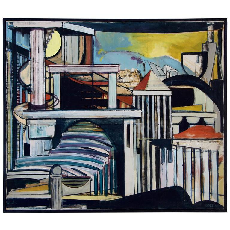 Louise Odes Neaderland Architectural Painting Columns, 1964 For Sale
