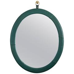 Leather Oval Mirror by Jason Koharik for Collected by