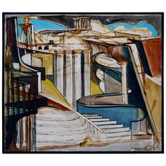 Louise Odes Neaderland Architectural Painting of a City, 1964