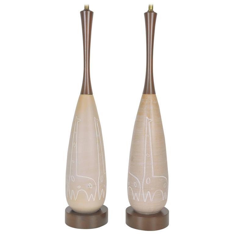 Italian Ceramic Giraffe Table Lamps by Raymor