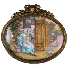Antique French Enameled Porcelain Genre Painting on Copper Ladies with Doves
