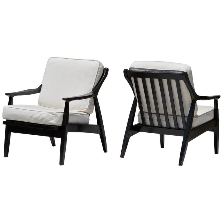 Ebonized Lounge Chairs, a Pair