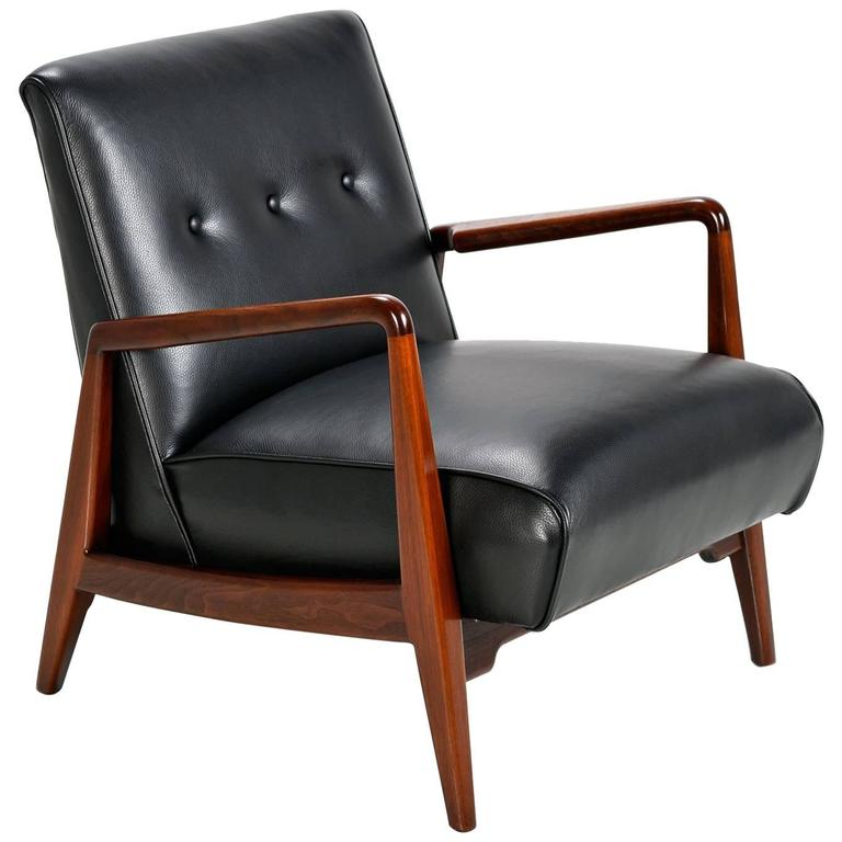 Jens Risom Danish Walnut U0026 Tufted Black Leather Lounge Chair, 1950s For Sale